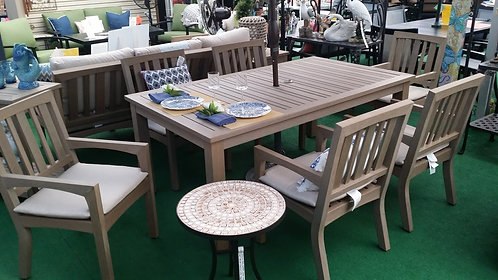 "73"" Rectangle Faux Teak Cushion Dining Group #30763"