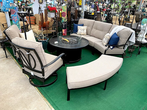 5pc Curved Aluminum Firepit Seating Group #29161
