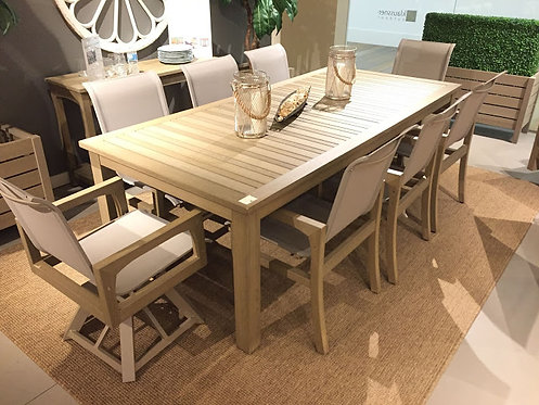 "9pc 92"" Rectangle Faux Teak Sling Dining Group (With Swivels)  #30774"