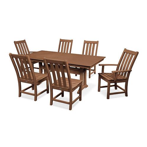 """Vineyard 7pc 72"""" Rectangle Dining (Teak Frame Color)"""