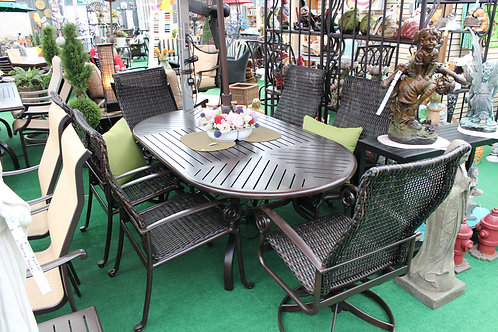 "84"" Rectangle Resin Wicker Dining Set #29154"