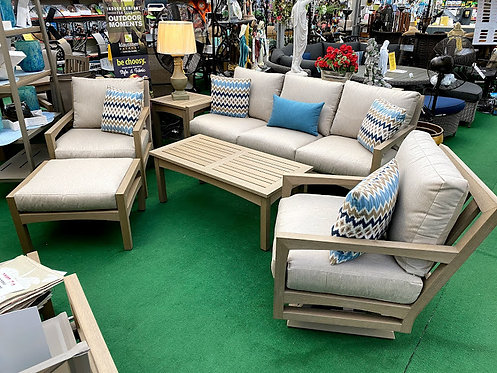6pc Faux Teak Outdoor Seating Group #30760