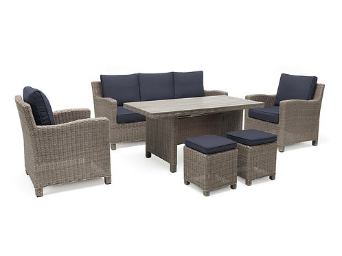 6pc Resin Wicker Seating Group #27823 (Indigo Blue Fabric)