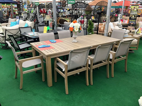 "9pc 92"" Rectangle Faux Teak Sling Dining Group #30762"