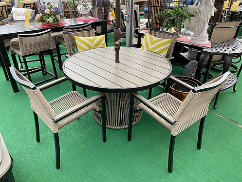"""48"""" Round Faux Teak Dining Group #32278"""