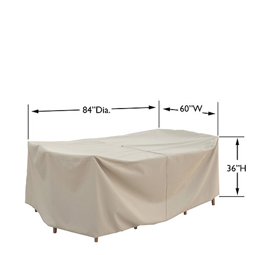 """Small Oval/Rectangle Table & Chairs Cover: 60″W x 84""""D x 36""""H"""