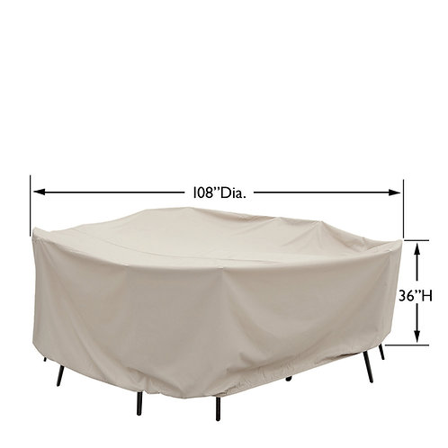 "60"" Round/Square Table & Chairs Cover: 108″W x 36""H"