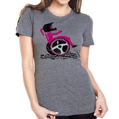 Ladies' grey Wheel With Me tee