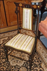 1915  ~ Mother of Pearl ~ Inlaid Cherry ~ Delicate Side Chair