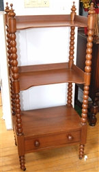"""Walnut """"What Not"""" Shelf with Turning Candle Stick Legs ~ Hand cut~ Dove tail"""