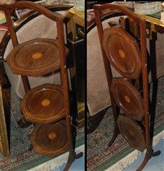 Antique folding side table - 3 tears - wonderful inlay