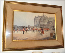 Watercolor Painting ~ Highland Bag Pipers Soldiers & Castle