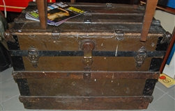 Antique metal clad trunk