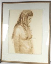 """""""Nude"""" - Original Watercolor by John Joy 1968 - 30"""" x 37"""""""