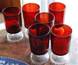 Set of 6 ~ Vintage Ruby Footed Glasses