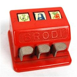 Vintage Brodi hand-held 3-reel miniature slot machine - baklite red