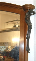 Vintage Mirror Solid Mahogany with Amazing Bronze Castings