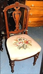 Get that Classic Look! Antique Open Back Chair Needle Point
