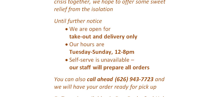We are open for take-out and delivery