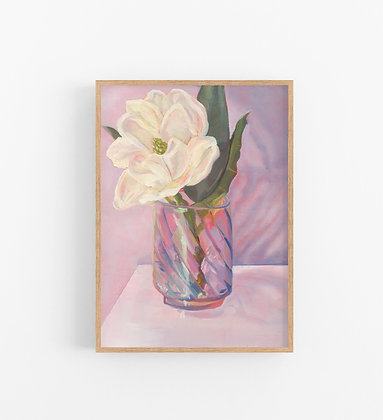 Magnolia in Pink | Vertical Canvas Print