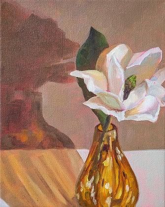 Golden Magnolia | Vertical Canvas Print