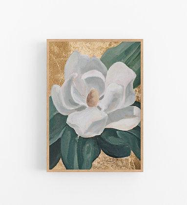 Magnolia on Gold | Vertical Embellished Print