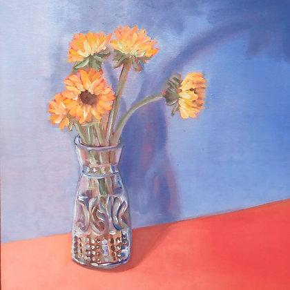 Sunflowers on Orange