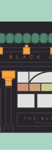 Black cap pub illustration