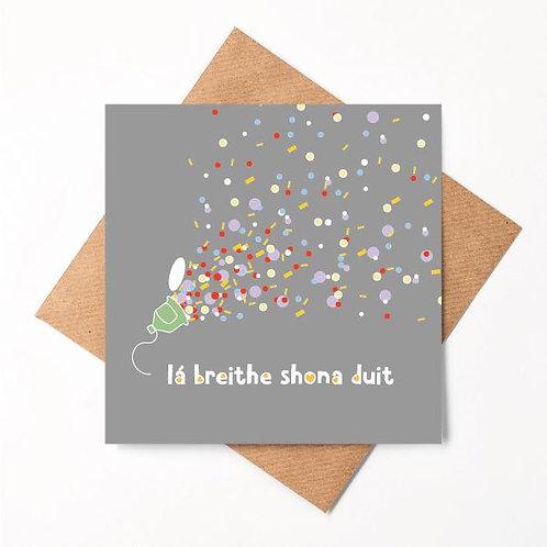 Happy Birthday Handmade Irish Card - Lá Breithe Shona Duit