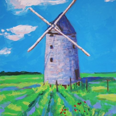 Ancient Windmill at Dusk