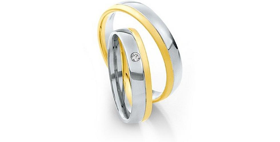 Fehérarany jegygyűrű egyik oldalon sárgaarany szegéllyel és gyémánttal