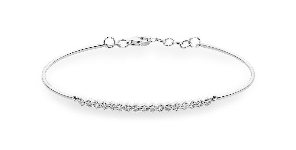 Fehérarany félig merev filigrán karkötő gyémánt sor díszítéssel