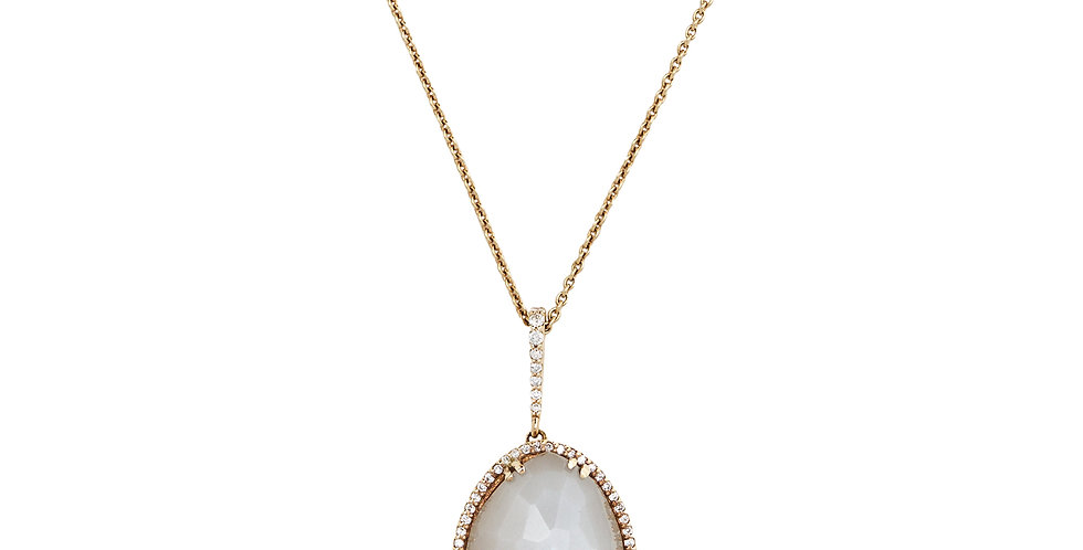 Rózsaarany kvarc és gyöngyház dublett medál gyémántokkal