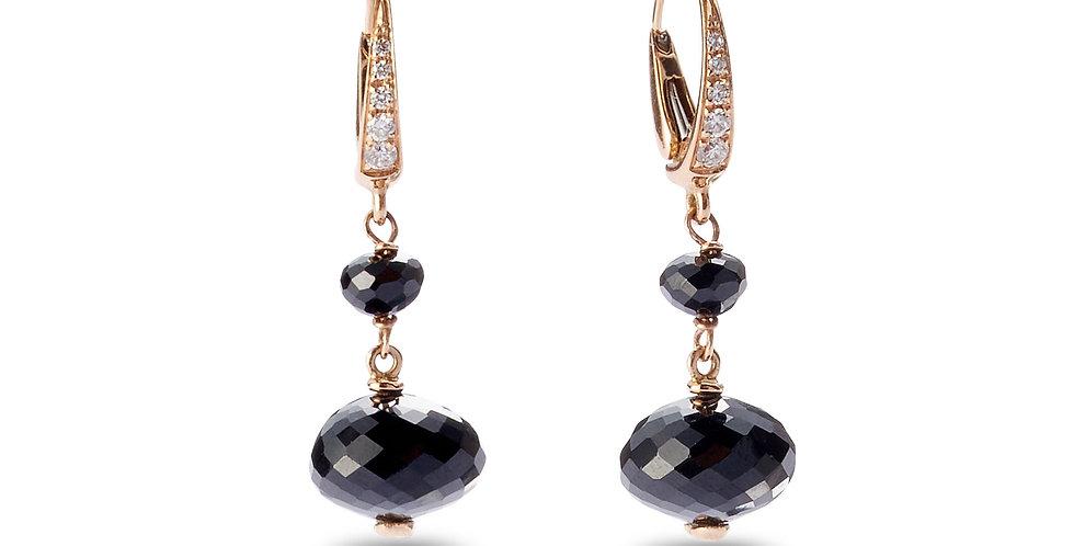 Cervera rózsaarany patent záras fülbevaló fekete spinellel és fehér gyémántokkal