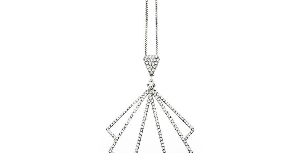 Gatto legyező formájú medál gyémántokkal foglalva, állítható hosszúságú láncon