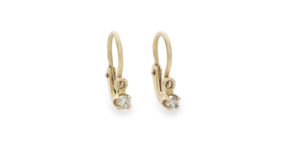 Sárgaarany baba fülbevaló pici gyémántokkal újszülötteknek és kislányoknak