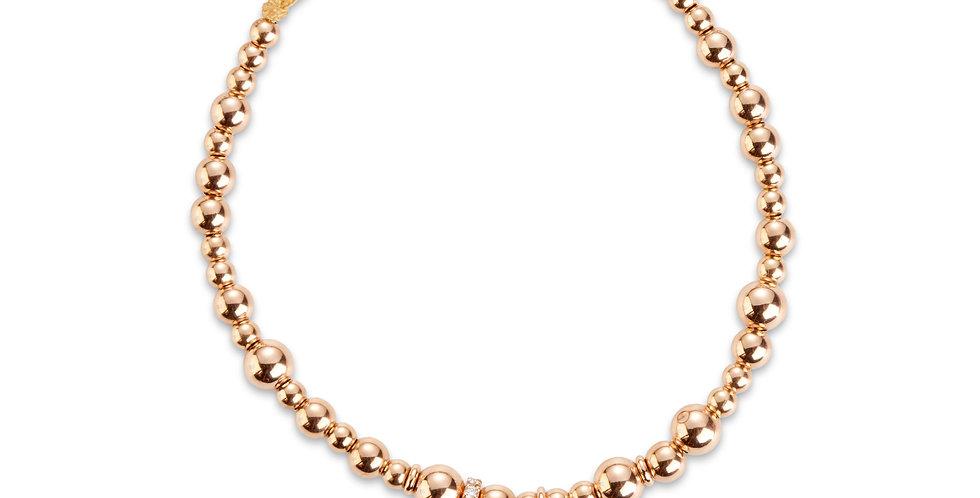 Cervera 18kt rózsaarany karkötő gyémántos szív charm díszítéssel