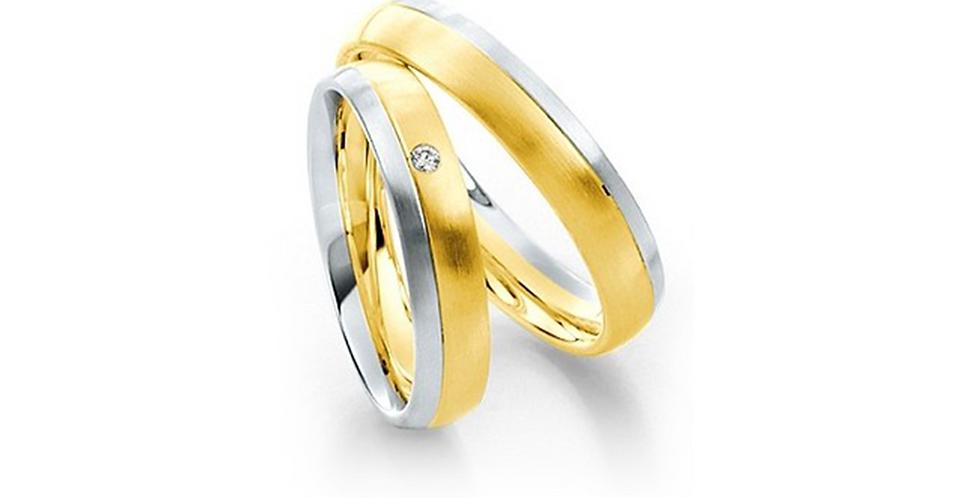 Fehér és sárgaarany bicolor karikagyűrű gyémánttal