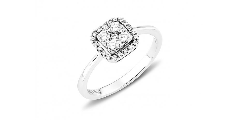 Piero Milano négyzet alakú fehérarany  gyémánt gyűrű