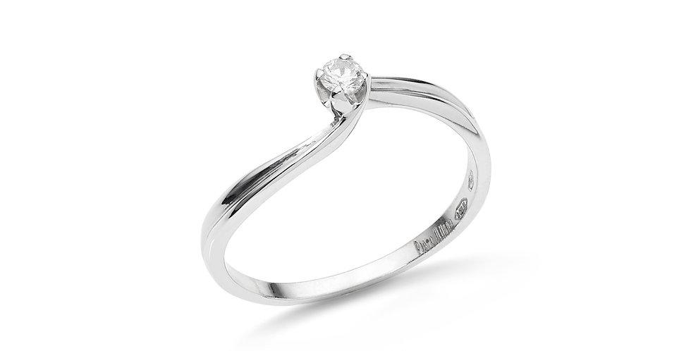 Fehérarany gyémánt gyűrű csavart foglalattal