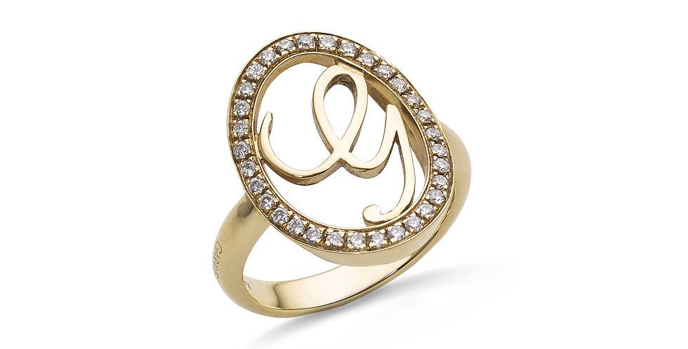 """Garavelli sárgaarany és gyémánt """"G"""" kezdőbetűs gyűrű"""