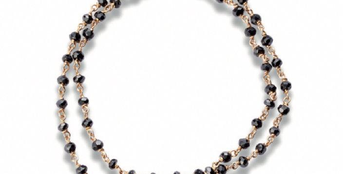 Cervera rózsaarany dupla soros lánc karkötő fekete spinellel és gyémántokkal