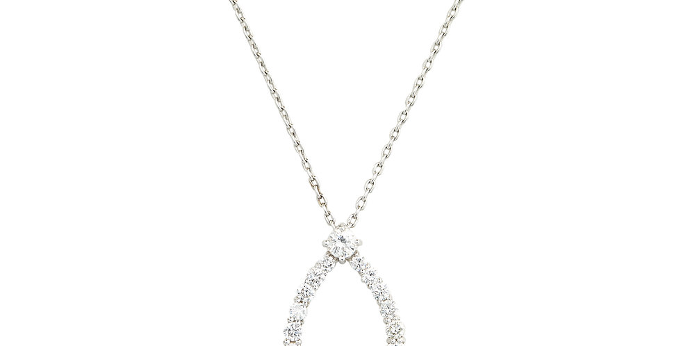 18kt-os fehérarany nyaklánc gyémántos csepp medállal