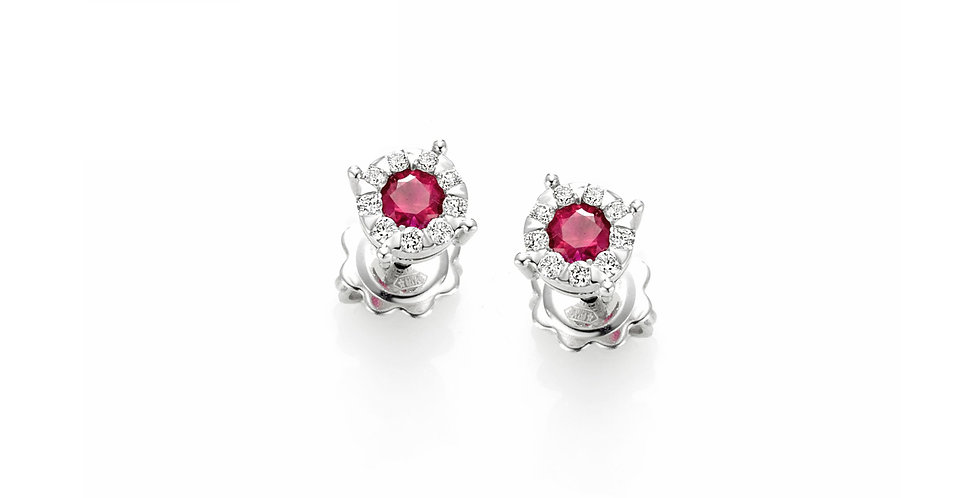 Piero Milano 18kt-os fehérarany bedugós fülbevaló rubinnal és gyémántokkal