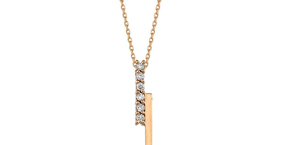 Rózsaarany vonalas medál fehér gyémántokkal