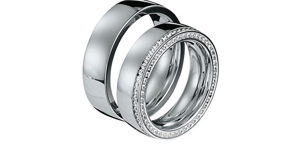 Exkluzív fehérarany jegygyűrű duplasoros gyémántfoglalattal