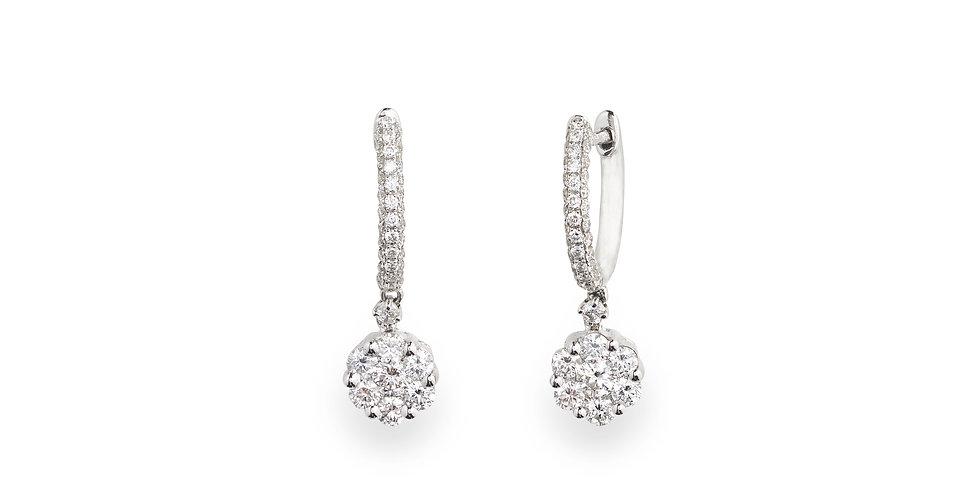 Piero Milano fehérarany francia kapcsos gyémánt fülbevaló virág alakú függővel
