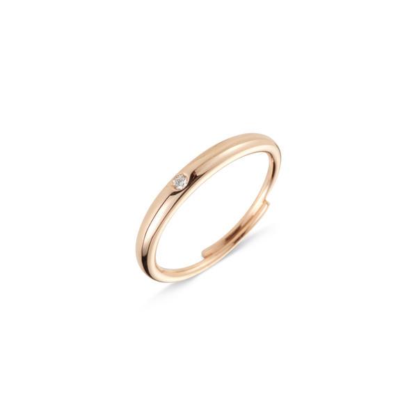 Cervera 18kt-os rózsaarany karikagyűrű gyémánttal