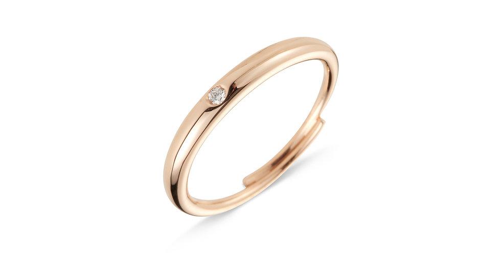 Cervera 18kt rózsaarany karikagyűrű gyémánttal