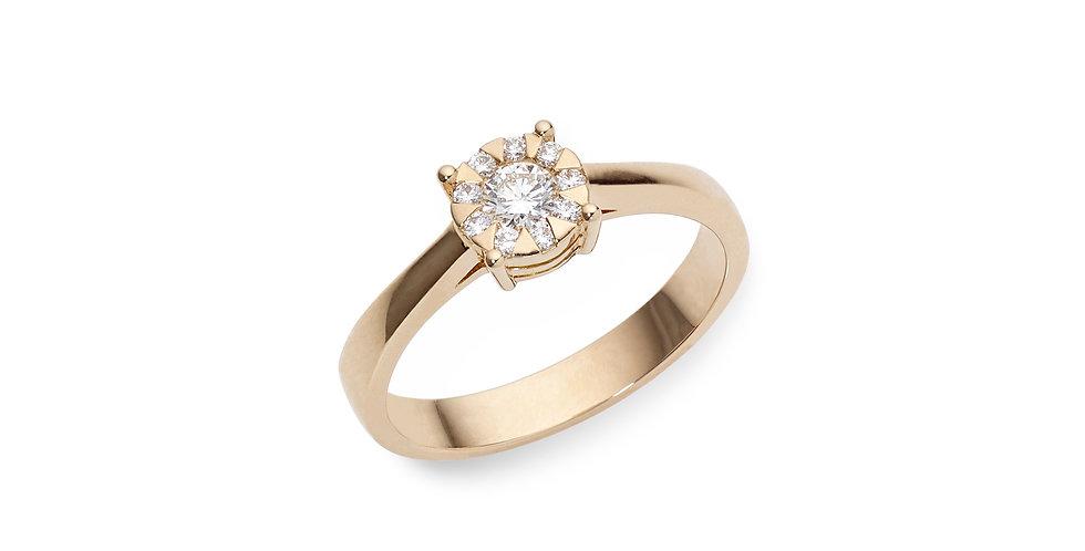 """Piero Milano rózsaarany, gyémánt """"invisible"""" foglalatos szoliter gyűrű"""